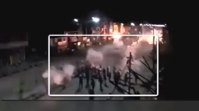 Viral video showing police tear gas protesters in Kashmir