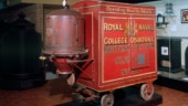 Booth's original red trolley British vacuum cleaner, 1905 seen here on display at Science Museum, London.