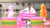 Watch and laugh: Pak reporter floats around waterlogged streets in inflatable pool