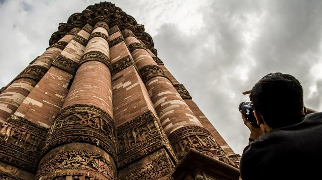 Qutub Minar Is Under Renovation And Birds Excreta Is The