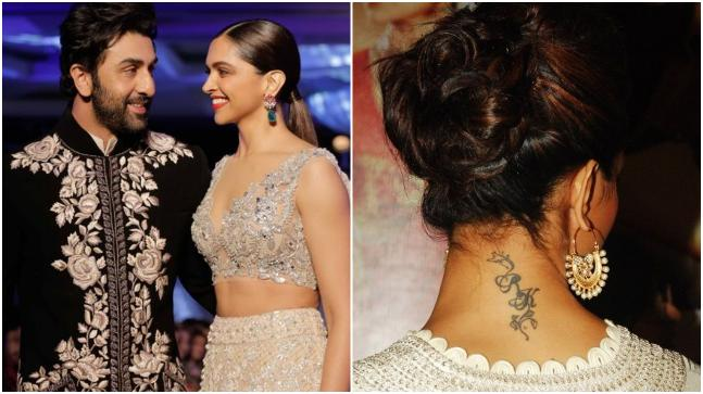 Ranbir Kapoor and Deepika Padukone (L) and Deepika's 'RK' tattoo