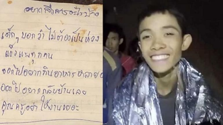 Letters (L) from the Thai boys trapped in the cave (R)