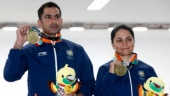 Ravi Kumar (left) and Apurvi Chandela had a total score of 429.9 in the 10m Air Rifle Mixed Team event (India_AG2018 Twitter Photo)
