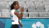 Hima Das walks off the track after she was disqualified following a false start (AP Photo)