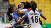 India's women's hockey team celebrate after a goal against China at the 18th Asian Games