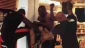 French rappers Booba and Karis in a brawl