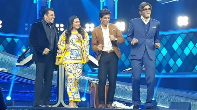Image result for latest images of salman khan show dus ka dum when shah rukh khan and rani mukherji is there