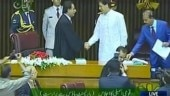 Bilawal Bhutto (in black) of the PPP today shook hands with PTI's Imran Khan in the National Assembly of Pakistan