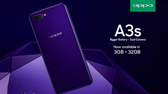 Oppo A3s with 3GB RAM, 32GB storage announced in India