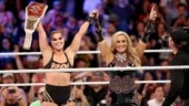 This was Ronda Rousey's (Left) second title match in the WWE