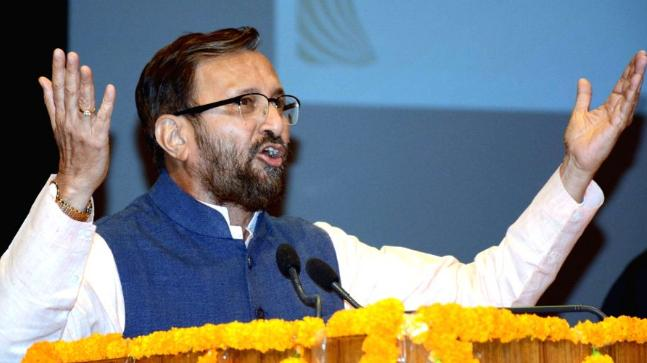 Union HRD Minister Prakash Javadekar addresses at the centenary celebrations of Patna University, on Aug 25, 2018. (Image: IANS)