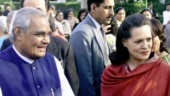 Atal Bihari Vajpayee with Sonia Gandhi