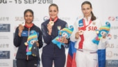 Manisha Keer (extreme left) with her silver medal at the podium (Photo Credit: ISSF)