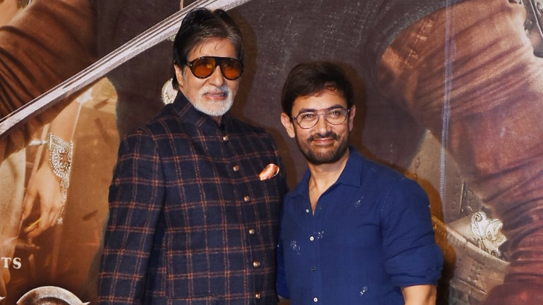 Amitabh Bachchan and Aamir Khan at the trailer launch of Thugs Of Hindostan. (Photo: Yogen Shah)