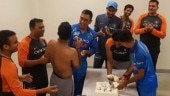 Team India celebrated Ambati Rayudu's birthday and their win over Pakistan by cutting a cake in the dressing room on Sunday (Indian cricket team Instagram Photo)