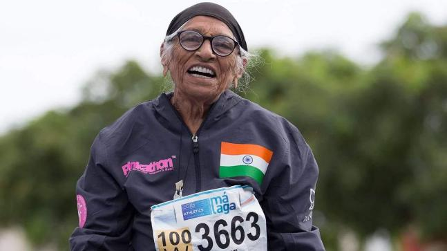 Man Kaur won the 200m race in the 100-104 age group category (Milind Soman Twitter Photo)