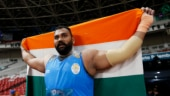 Tajinderpal Singh Toor won the men's shot put gold medal at Asian Games 2018 with a Games and National Record. (Reuters Photo)