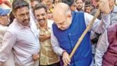 BJP president Amit Shah participates in 'Swacchta hi Sewa' campaign in Hyderabad on Saturday
