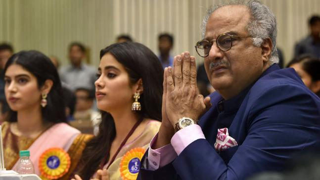 Boney, Jahnvi and Khushi Kapoor get emotional at the ceremony of the 65th National Film Awards as Sridevi was conferred with the Best Actress award. (Image: PTI)