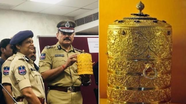 Thieves who stole gold tiffin box, cup worth over Rs 100