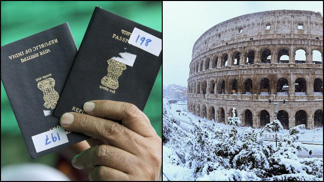 There is some good news for Indian passport holders who need to travel to Schengen states at a short notice. Indian passport (L) and the Colosseum in Rome (R). Photos: Reuters