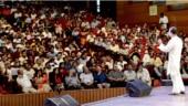 Congress president Rahul Gandhi addresses academicians at Siri Fort auditorium in Delhi