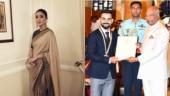 Anushka Sharma (L) Virat Kohli with President Ram Nath Kovind Photo: Instagram/sabyasachiofficial ; Instagram/insta_virat_kohli