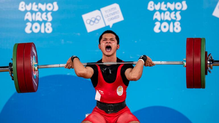 Jeremy went on to lift a total of 274 kg (124kg in snatch + 150kg in clean and jerk) to grab the top spot (AP Photo)