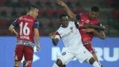 NorthEast United FC and Jamshedpur FC players in action (ISL Photo)