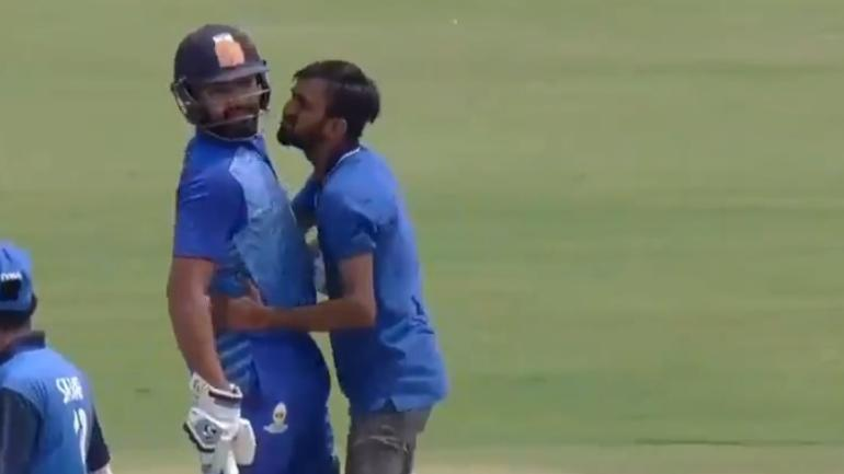 Rohit Sharma Was Greeted Hugged And Almost Kissed By A Fan During A Vijay Hazare