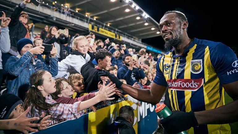 Usain Bolt was elated having scored twice in his first start for Central Coast Mariners. (@CCMariners Photo)