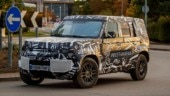 """The next-generation Defender was spotted for the first time testing on public roads wrapped in camouflage with the hashtag """"BEST4X4XFAR"""" on the side and the rear."""