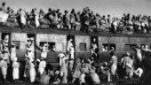Muslim refugees crowd onto a train as they try to flee India near New Delhi in September 1947.
