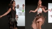 Models dressed in chocolate-made outfits.