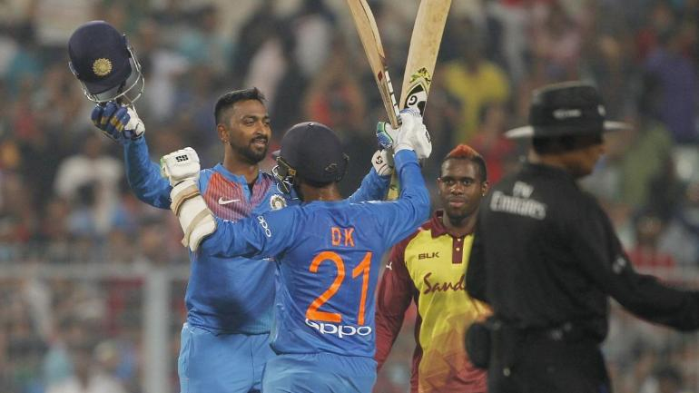Krunal Pandya starred with both bat and ball in the first T20I against West Indies on Sunday