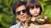 Shah Rukh Khan with AbRam (L) and a still from Zero