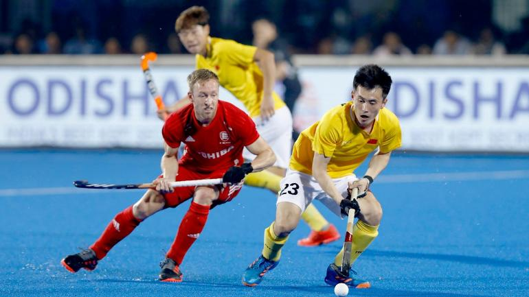 China and England players in action during their Hockey World Cup 2018 match (Photo tweeted @TheHockeyIndia)