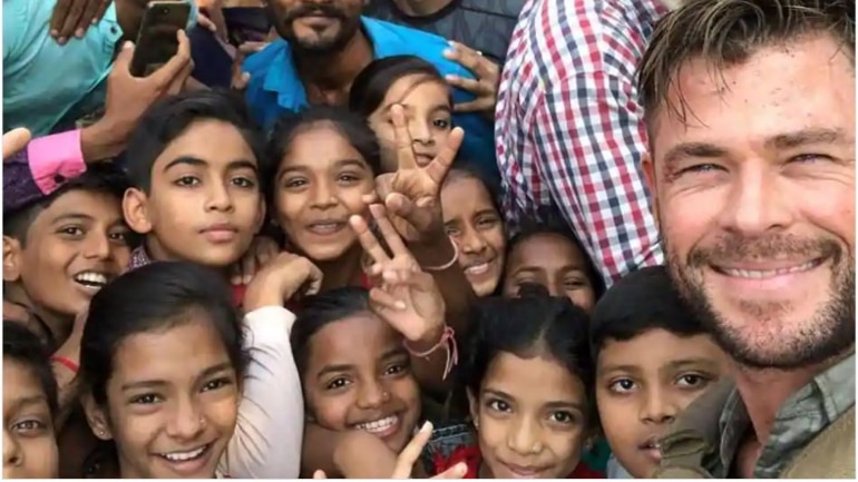 Chris Hemsworth shared several photos from his shooting location in Ahmedabad.