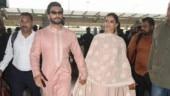 Deepika and Ranveer at the Bengaluru airport. Photo: Yogen Shah