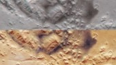 Top: The Nili Fossae in 3D; Bottom: Nili Fossae floodplains as seen originally. (Image: ESA)