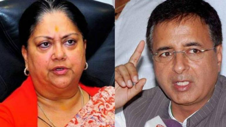 Rajasthan Chief Minister Vasundhara Raje and Congress spokesperson Randeep Surjewala