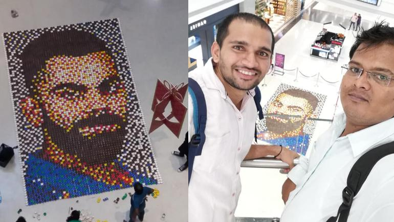 Mumbai-based artist created Virat Kohli's mosaic using diyas.