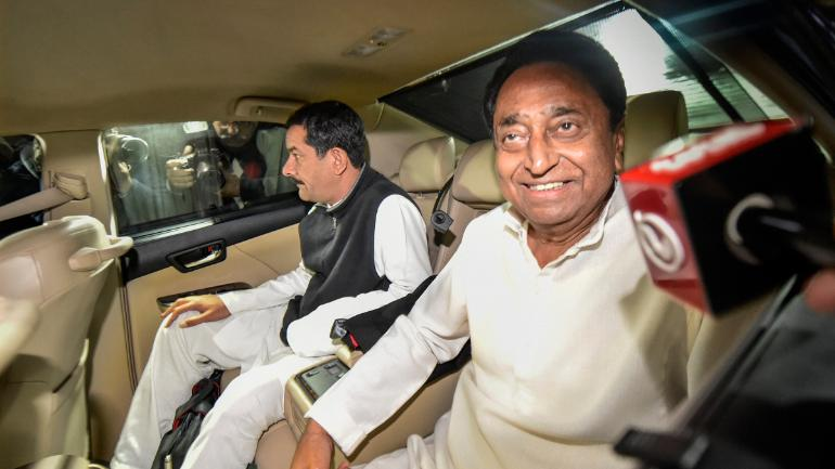 Kamal Nath at Rahul Gandhi's residence on Thursday morning. (Image: PTI)