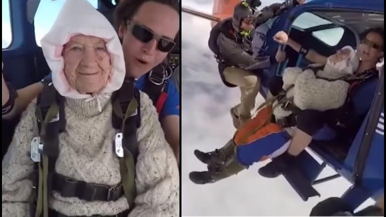 Irene O'Shak, the 102-year-old skydiver jumps mid-air.