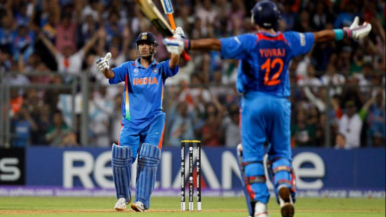 MS Dhoni hit a six to complete India's chase in the World Cup final against Sri Lanka in 2011 (Reuters Photo)
