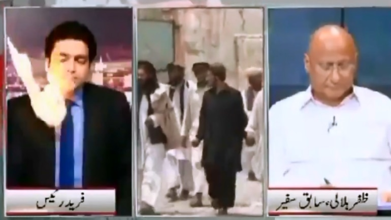 Pakistani anchor hit by ball of fire on live TV.
