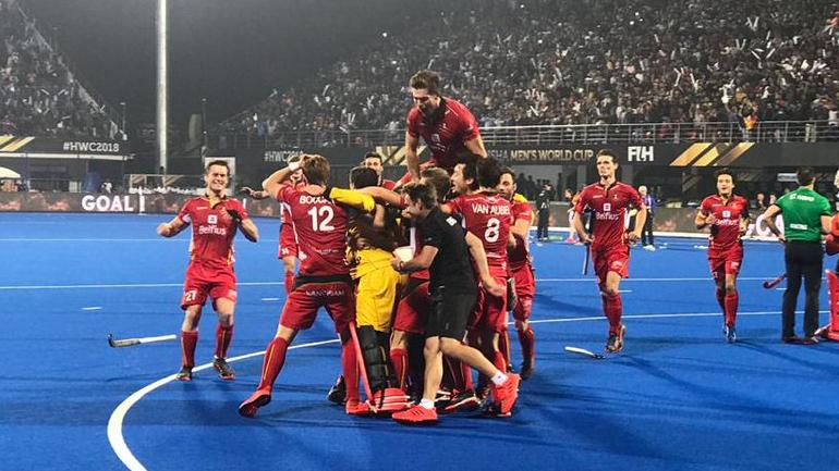 Belgium players celebrate their victory (Photo tweeted by @TheHockeyIndia)