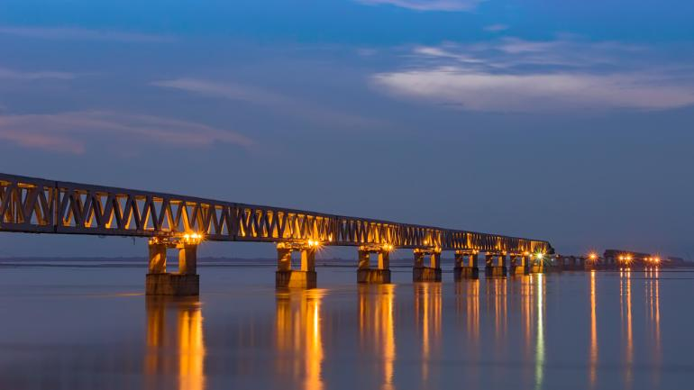 The construction of the Bogibeel Bridge in Dibrugarh, Assam has concluded after 21 years of initiation. (Image: Vikramjit Kakati, a local of the Assamese city.)