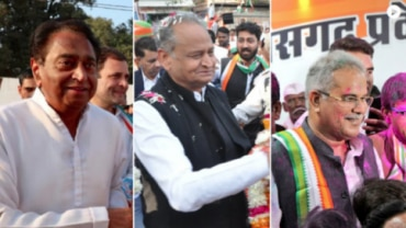 Congress leaders Kamal Nath, Ashok Gehlot and Bhupesh Baghel will be sworn in as the chief ministers of Madhya Pradesh, Rajasthan and Chhattisgarh respectively on Monday. (Photos: Twitter/Office of Kamal Nath, Ashok Gehlot and Bhupesh Baghel)
