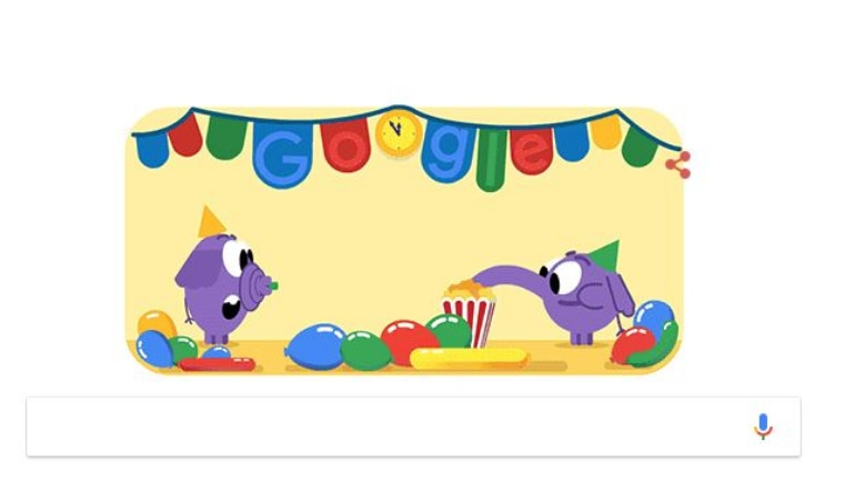 New Year's eve: Google doodle kicks off celebration with purple elephants